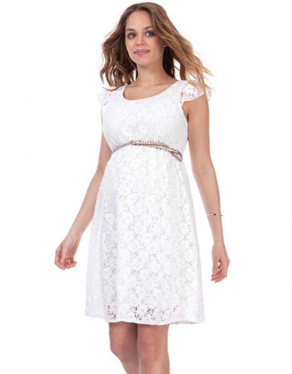 Image pour Robe grossesse en dentelle blanche