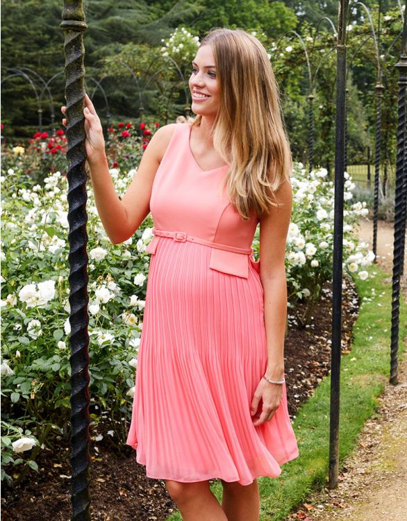 Image for Seraphine Coral Pleated Maternity Dress