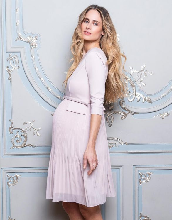 Image for Blush Pink Pleated Maternity Dress