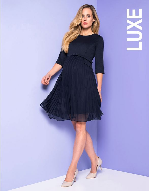 Image for Seraphine Navy Blue Pleated Maternity Dress
