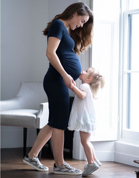 Image for Bodycon Midi Navy Blue Maternity Dress