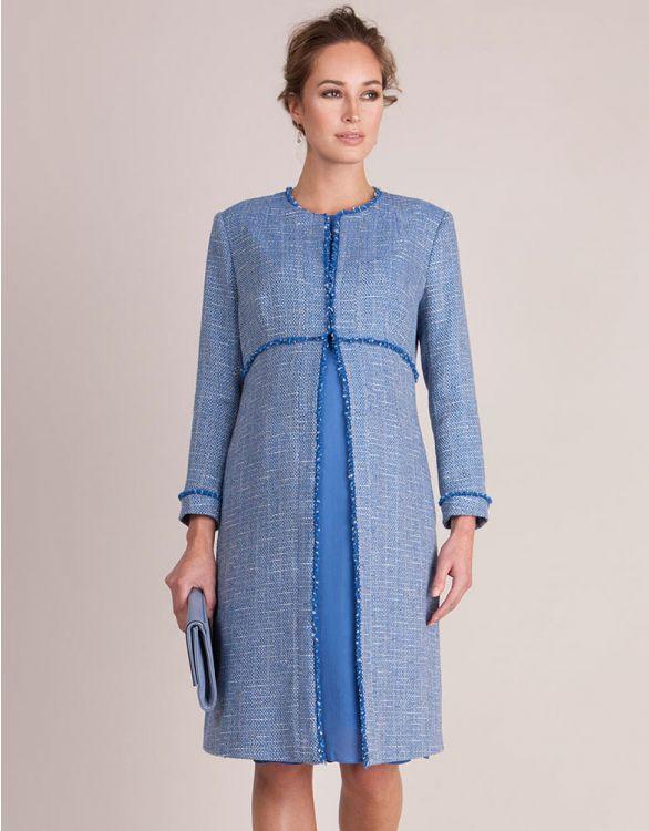 Image pour Manteau long grossesse en coton bouclé - Bleu