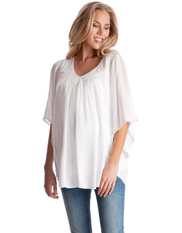Image for White Boho Chic Maternity Top