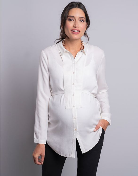 Image for Cream Tailored Maternity Blouse