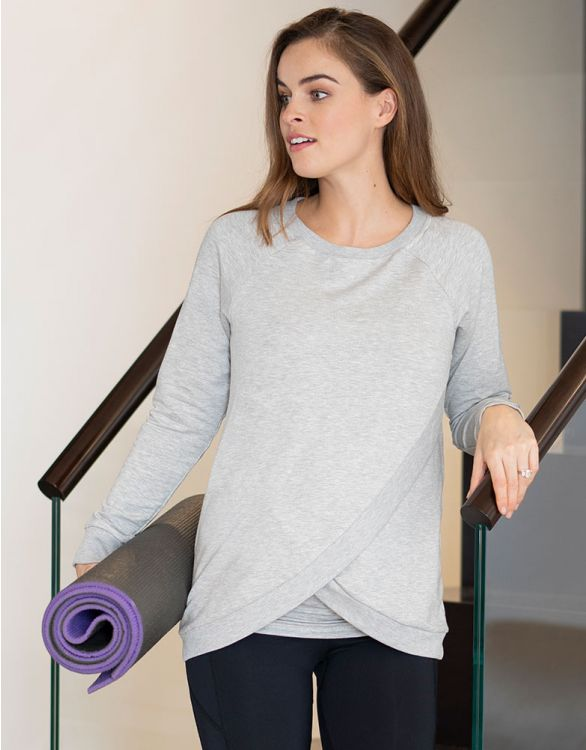 Image for Grey Marl Crossover Maternity & Nursing Sweater