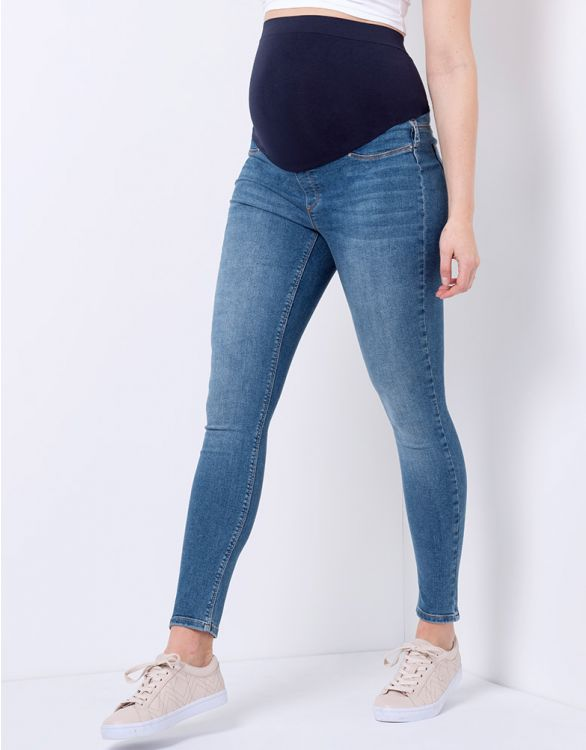 Bild für Super Skinny Umstandsjeans mit vollem Bauchband