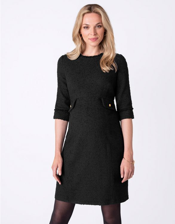 Image for Black Bouclé Maternity Dress