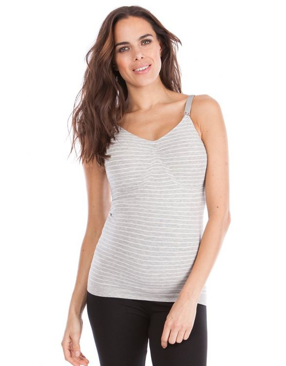 Image for Grey & White Bamboo Seamless Nursing Vest