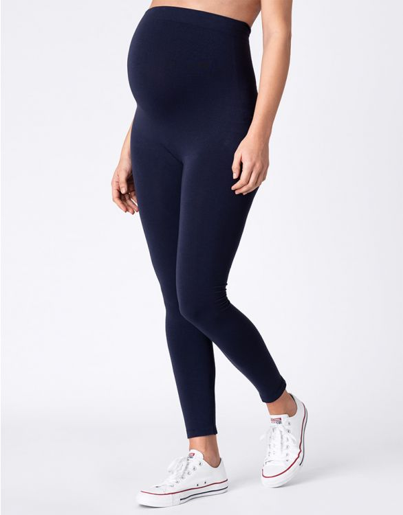 Image for Navy Blue Bamboo Maternity Leggings