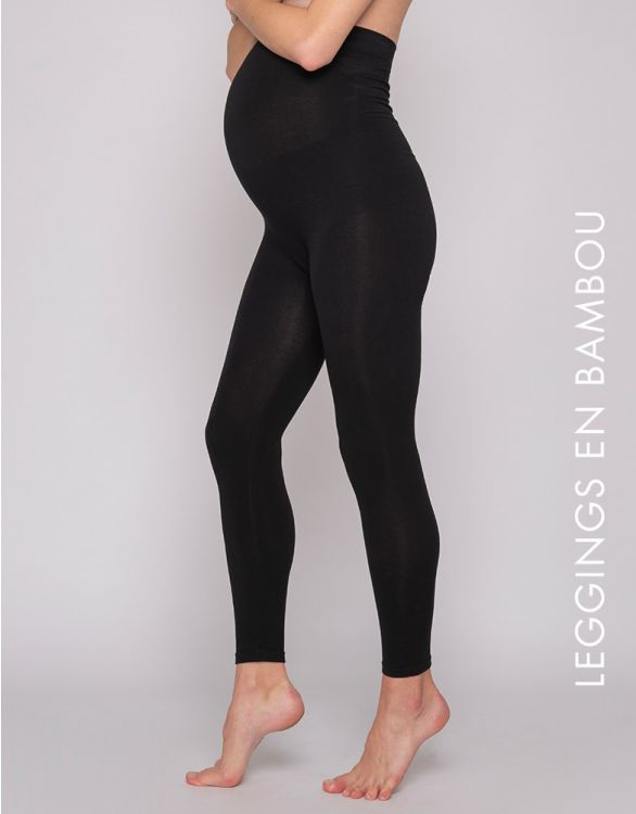 Image pour Legging grossesse taille haute en bambou - Noir