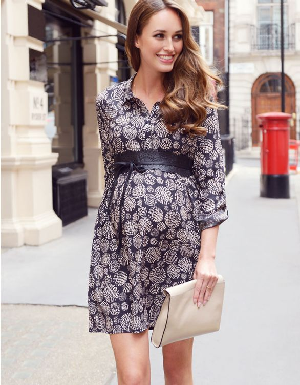 Image pour Robe chemise grossesse - Noir/Ecru