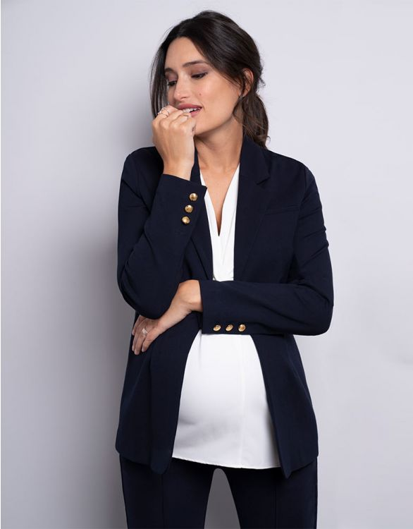 Image for Navy Blue Ponte Maternity Blazer