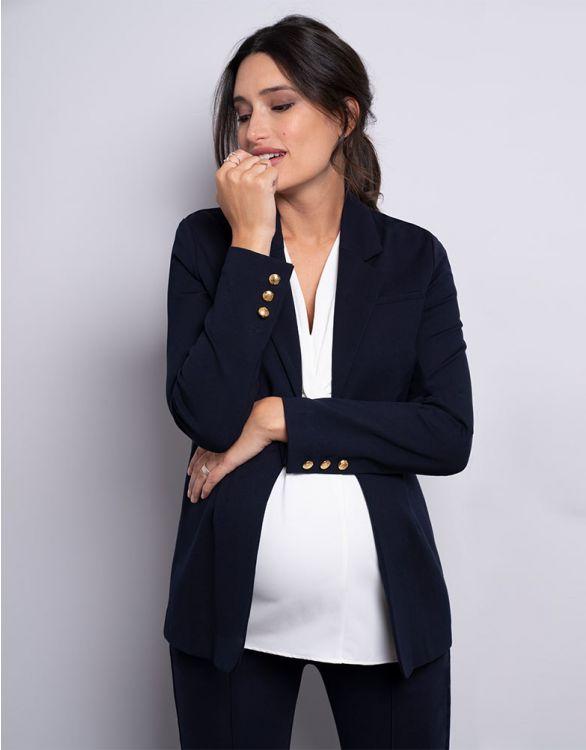 Image pour Blazer grossesse en Ponte – Bleu marine