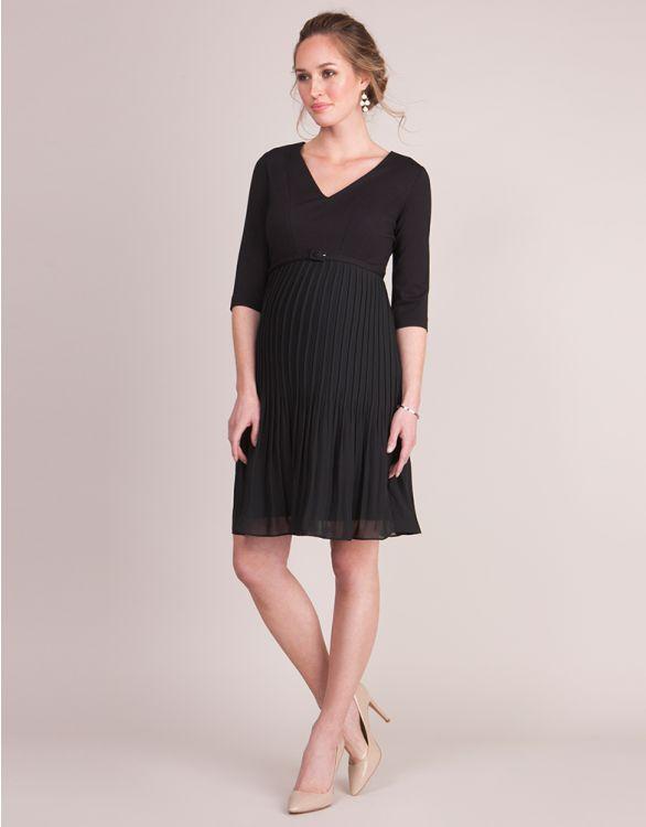 Image pour Robe grossesse jupe plissée - Noir