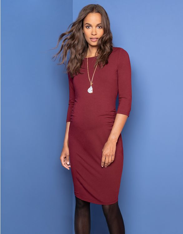 Image for Burgundy Maternity Shift Dress