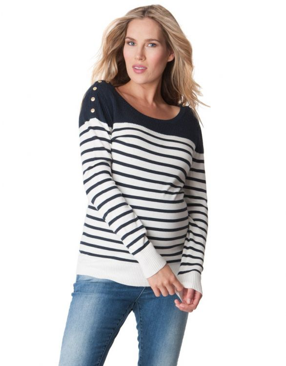 Image for Breton Striped Maternity & Nursing Jumper