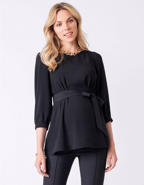 Image for Belted Black Maternity Blouse