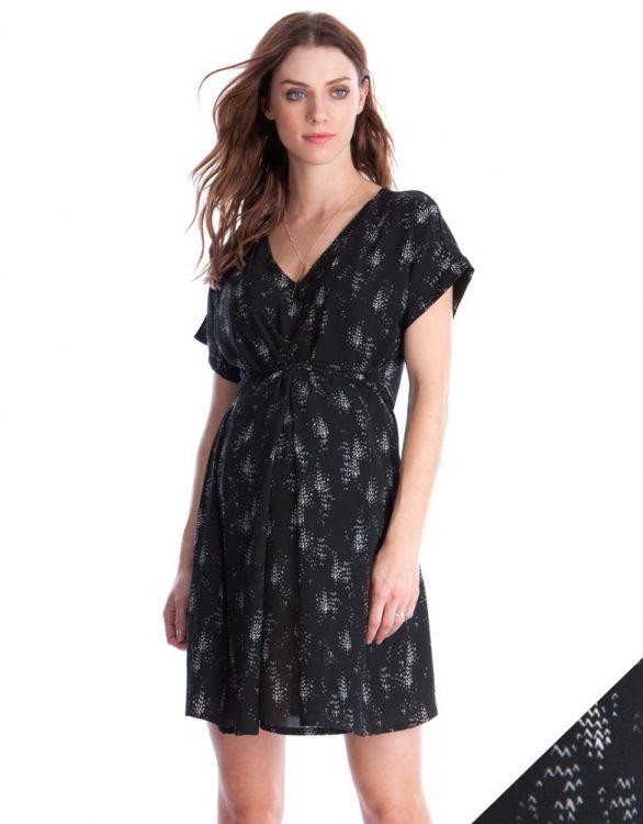 Image for Black Woven Printed Maternity & Nursing Dress