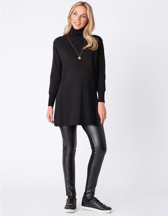 Image for Black Roll Neck Maternity & Nursing Tunic