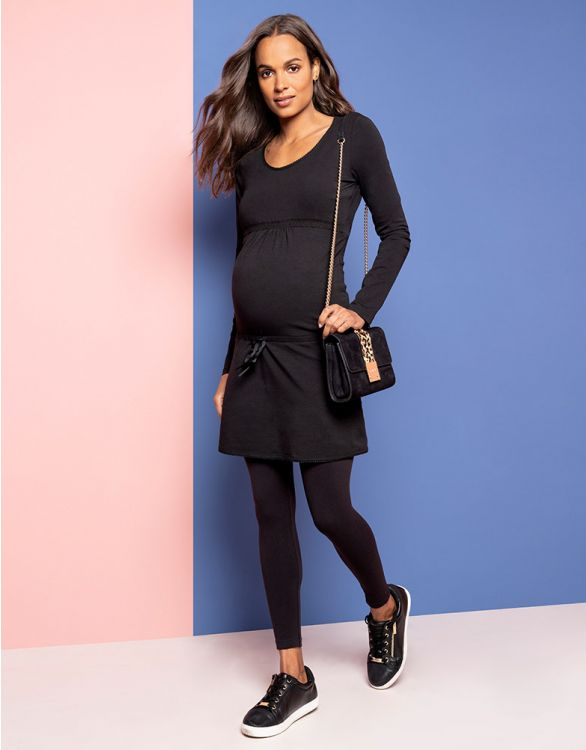 Image for Black Cotton Maternity Dress