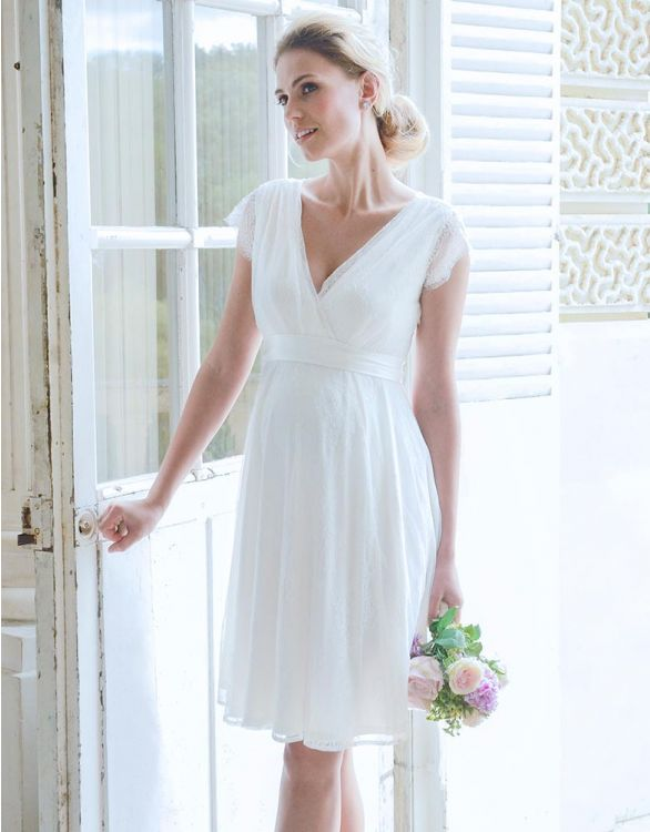 Image for Short Lace Maternity Wedding Dress