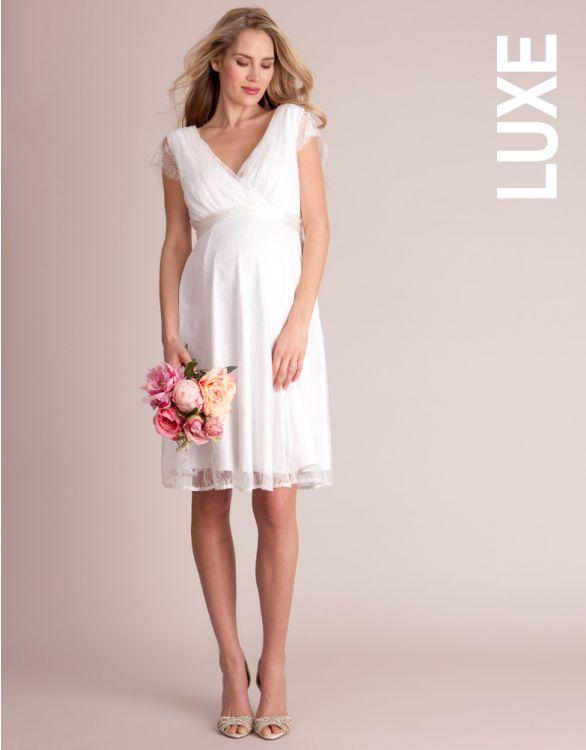 Imagen de Vestido premamá de boda corto con encaje