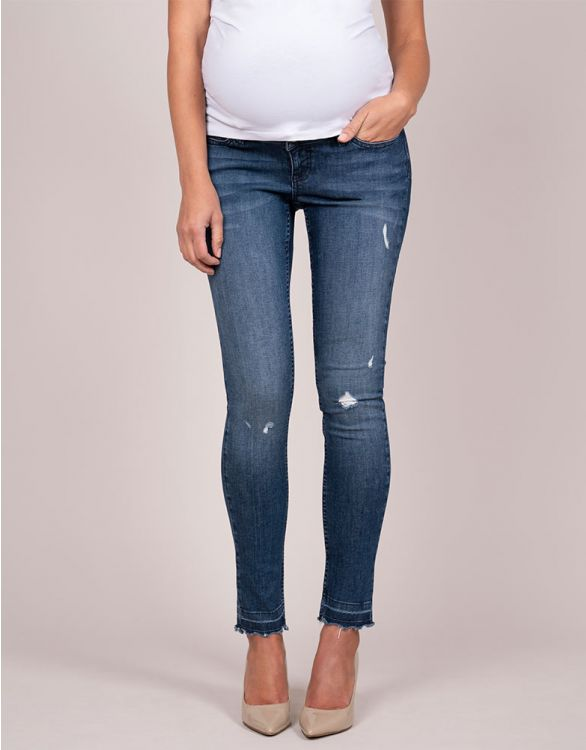 Image for Distressed Over Bump Skinny Maternity Jeans