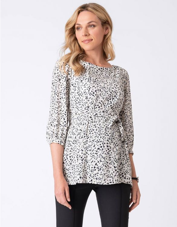 Image for Printed Belted Maternity Blouse
