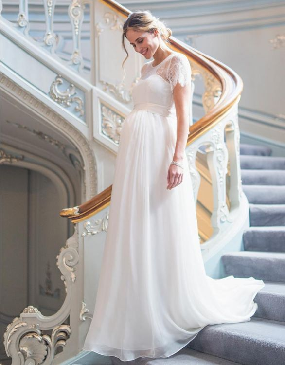 Image for Ivory Lace & Silk Maternity Gown