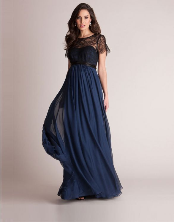 Image for Navy Blue Silk and Lace Maternity Evening Gown