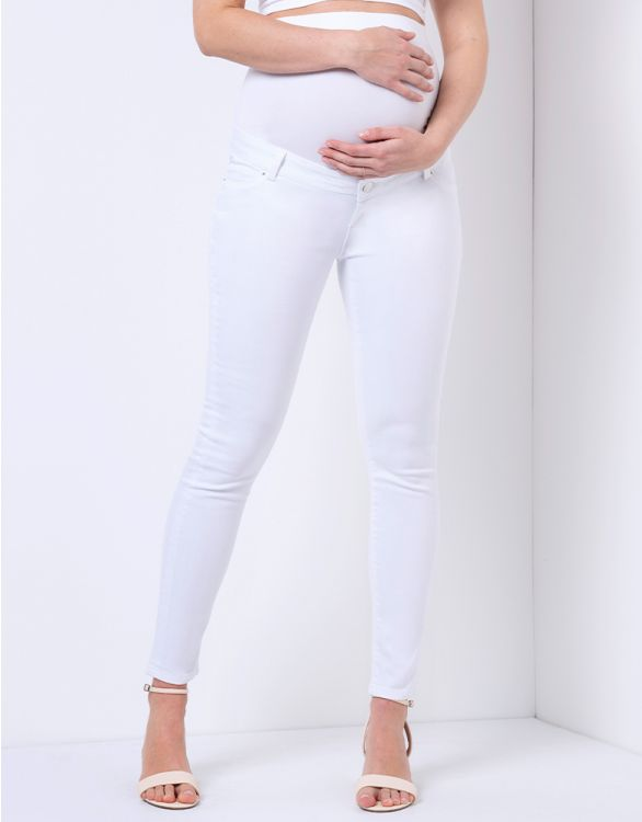 Image for Slim Leg Over Bump White Maternity Jeans