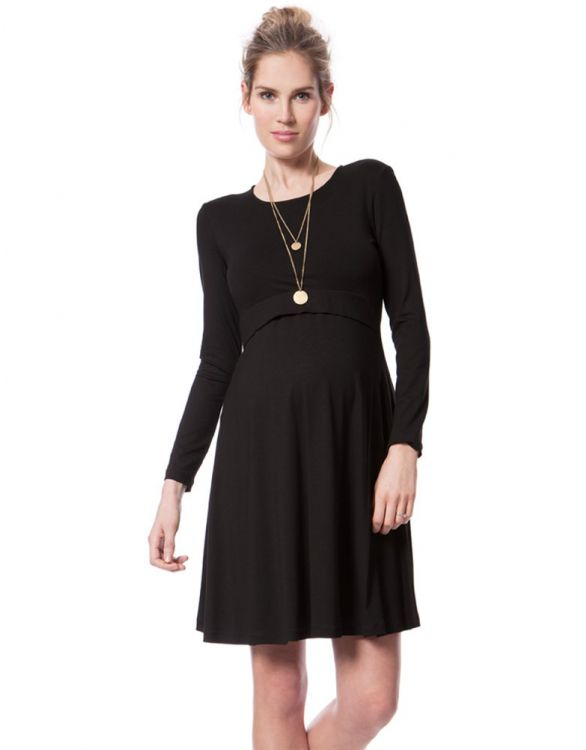 Image for Black Bamboo Maternity & Nursing Skater Dress