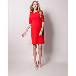 Scarlet Peplum Maternity Dress