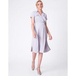 Sky Blue Wrap Trench Maternity Dress