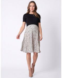 Black & White Knitted Top Maternity & Nursing Dress