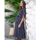 Navy Blue Midi Wrap Maternity Dress