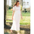 White Shirred Maternity Maxi Dress