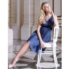 Navy Blue Polka Dot Silk Maternity Dress
