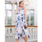 Printed Silk Maternity Midi Dress