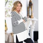 Long-Line Striped Maternity Cardigan