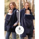 6 in 1 Navy Maternity Coat with Fleece Gilet