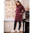 Burgundy Maternity & Nursing Sweatshirt Dress