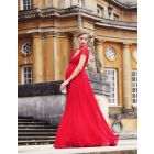 Scarlet Silk & Lace Maternity Evening Gown