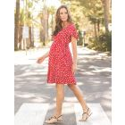 Red Floral Wrap Maternity Dress