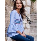 Blue Aztec Cotton Maternity & Nursing Blouse