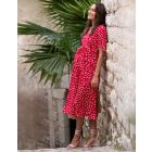 Red Midi Wrap Maternity Dress