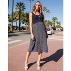 Double Layer Navy Maternity & Nursing Dress