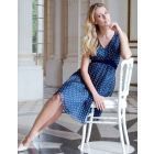 Navy Blue Polka Dot Silk Maternity Dress
