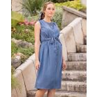 Button Down Denim Maternity Midi Dress