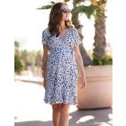 Blue Animal Print Wrap Maternity Dress